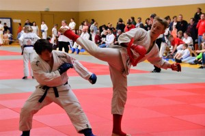 Ruven (rot) bei seiner ersten Hessenmeisterschaft